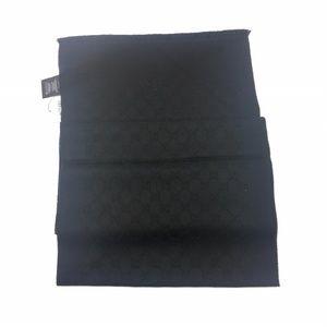 Gucci GG 100% Black Lana Wool Unisex Scarf #430876